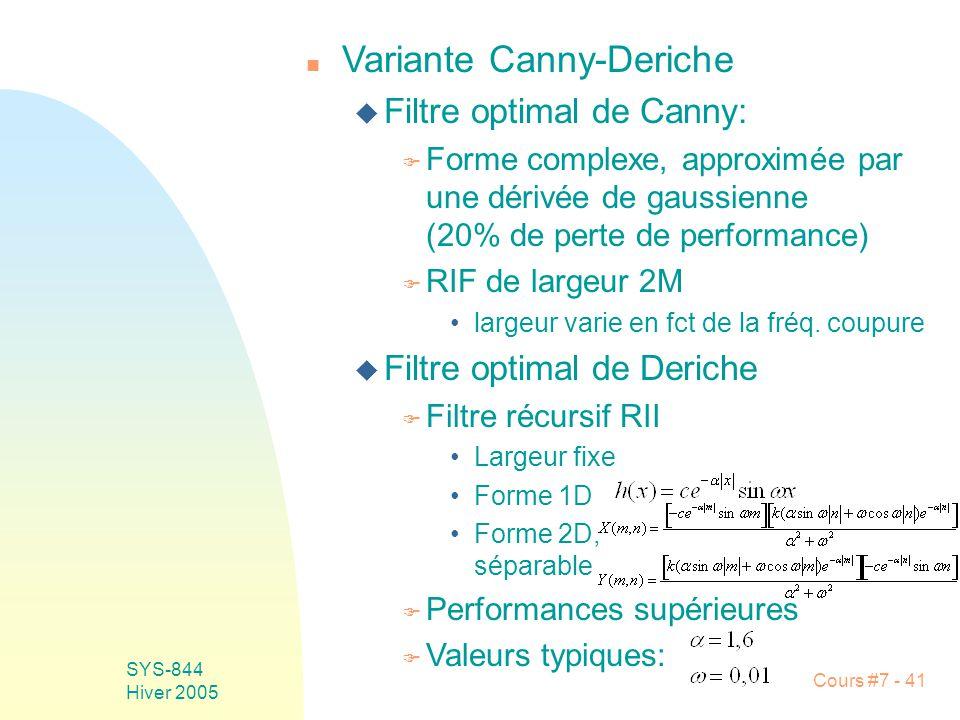 Cours #7 - 41 SYS-844 Hiver 2005 n Variante Canny-Deriche u Filtre optimal de Canny: F Forme complexe, approximée par une dérivée de gaussienne (20% de perte de performance) F RIF de largeur 2M largeur varie en fct de la fréq.