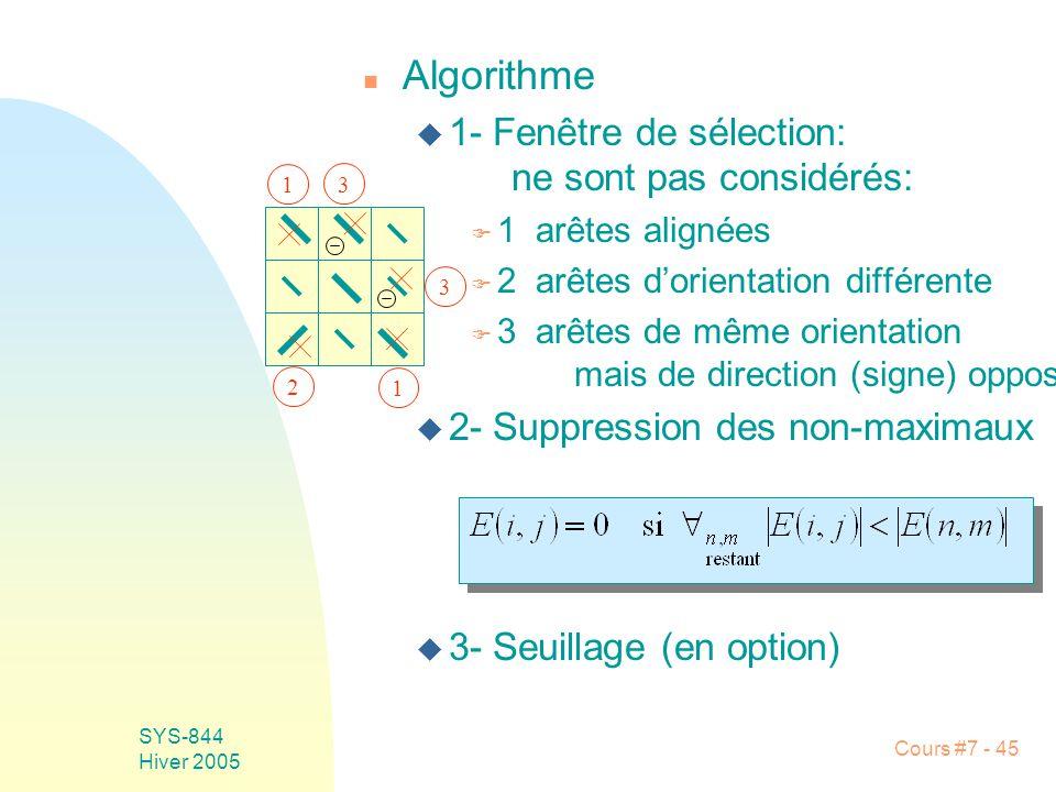 Cours #7 - 45 SYS-844 Hiver 2005 n Algorithme u 1- Fenêtre de sélection: ne sont pas considérés: F 1 arêtes alignées F 2 arêtes dorientation différente F 3 arêtes de même orientation mais de direction (signe) opposée u 2- Suppression des non-maximaux u 3- Seuillage (en option) 1 1 2 3 3
