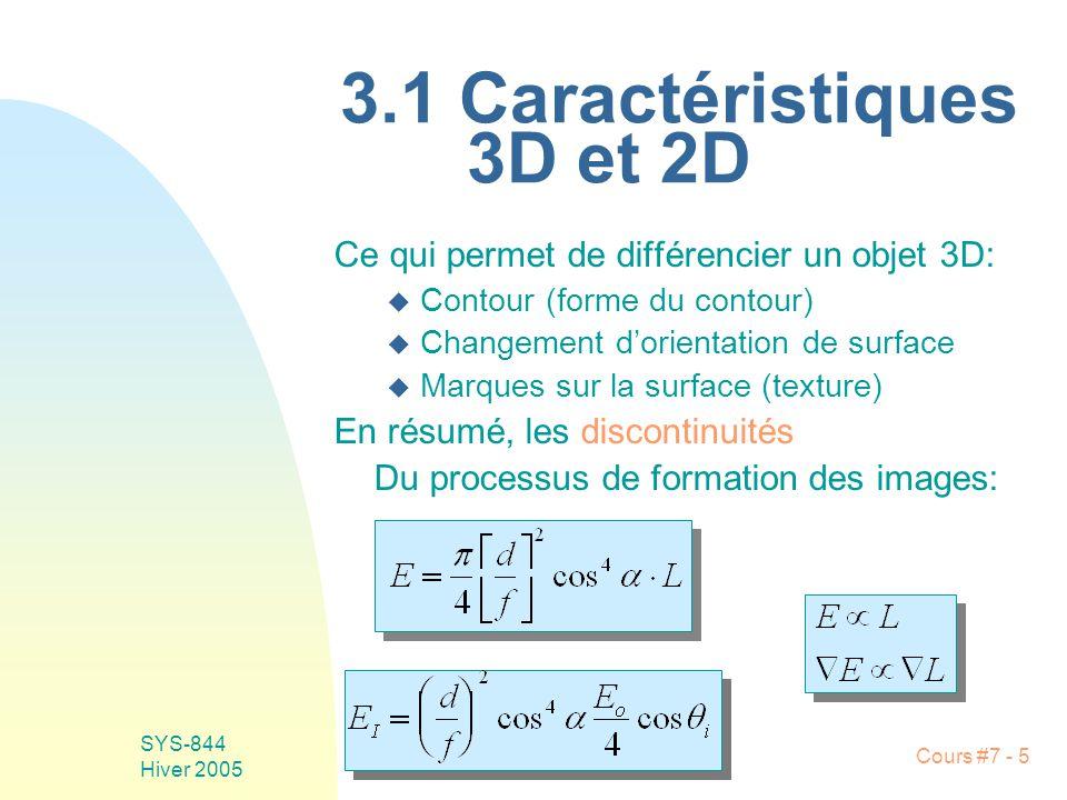Cours #7 - 5 SYS-844 Hiver 2005 3.1 Caractéristiques 3D et 2D Ce qui permet de différencier un objet 3D: u Contour (forme du contour) u Changement dorientation de surface u Marques sur la surface (texture) En résumé, les discontinuités Du processus de formation des images: