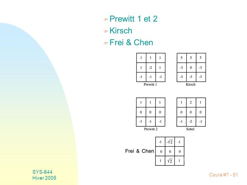 Cours #7 - 51 SYS-844 Hiver 2005 F Prewitt 1 et 2 F Kirsch F Frei & Chen