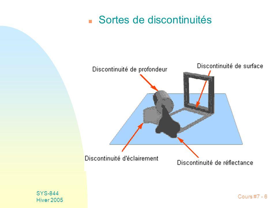 Cours #7 - 37 SYS-844 Hiver 2005 u Grandeur optimale: 3x3 F Moyennage le long de larête et différentiation à travers larête F Si larête est orientée différemment de 0 o ou 90 o, celle-ci sera filtrée, doù une amplitude plus petite du gradient F Solution: masque de Sobel orienté selon plusieurs directions Filtrage raisonnable Détection symétrique