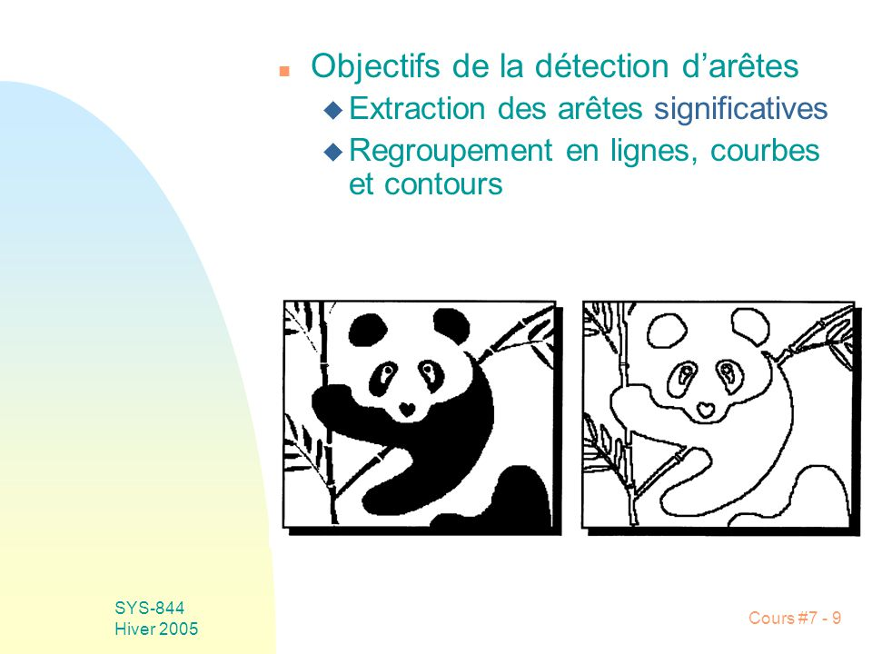 Cours #7 - 10 SYS-844 Hiver 2005 n Catégories darêtes u Échelon u Rampe u Barre u Crête u Point (eg spot lumineux)