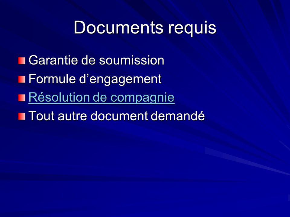 Documents requis Garantie de soumission Formule dengagement Résolution de compagnie Résolution de compagnie Tout autre document demandé
