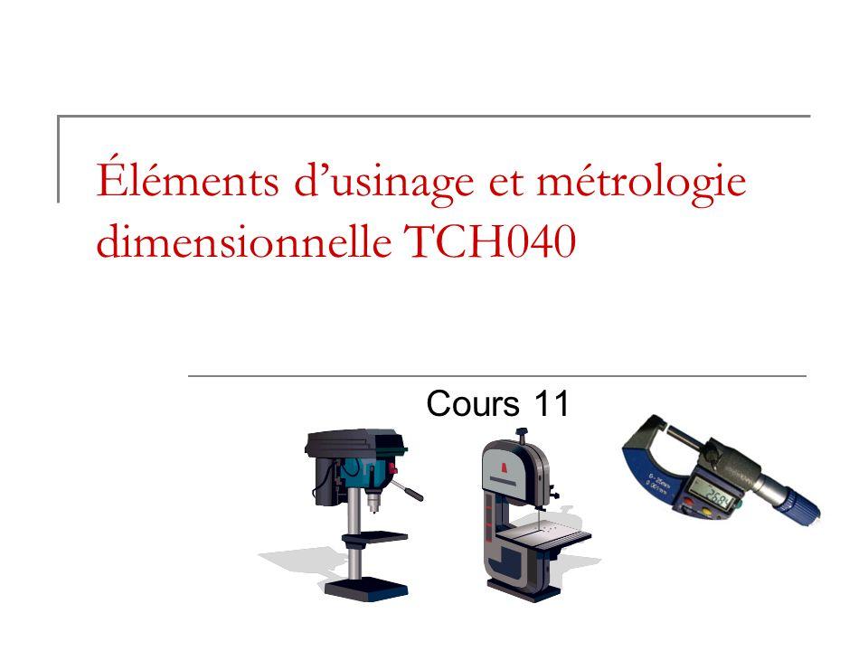 Éléments dusinage et métrologie dimensionnelle TCH040 Cours 11