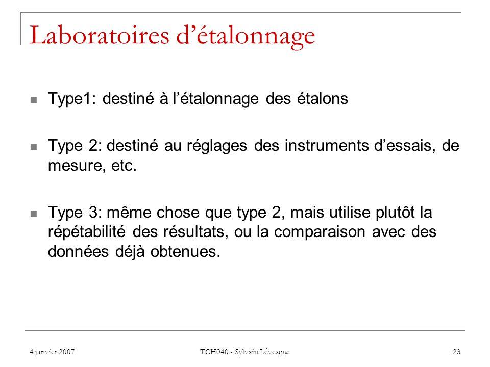4 janvier 2007 TCH040 - Sylvain Lévesque 23 Laboratoires détalonnage Type1: destiné à létalonnage des étalons Type 2: destiné au réglages des instrume