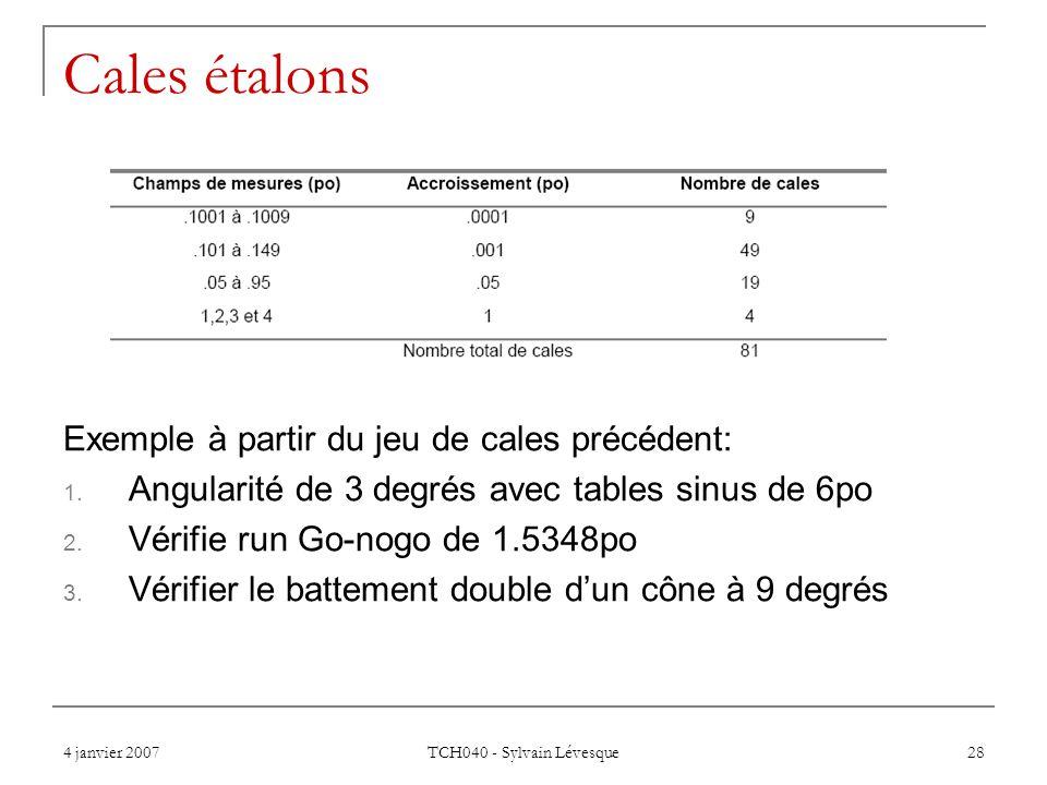 4 janvier 2007 TCH040 - Sylvain Lévesque 28 Cales étalons Exemple à partir du jeu de cales précédent: 1. Angularité de 3 degrés avec tables sinus de 6