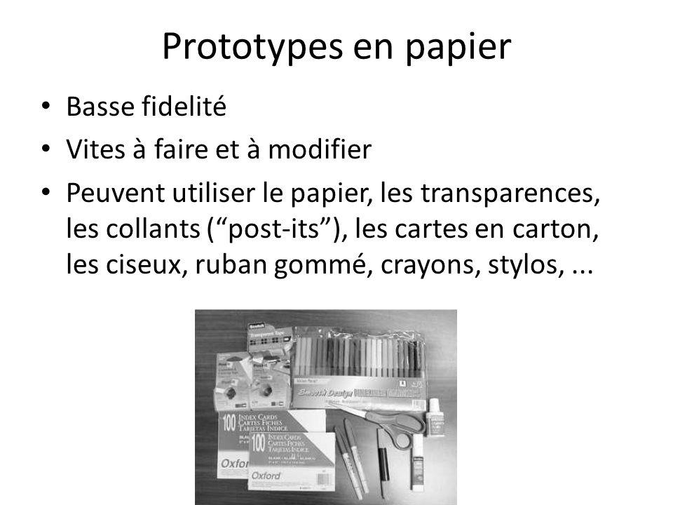 Prototypes en papier Basse fidelité Vites à faire et à modifier Peuvent utiliser le papier, les transparences, les collants (post-its), les cartes en