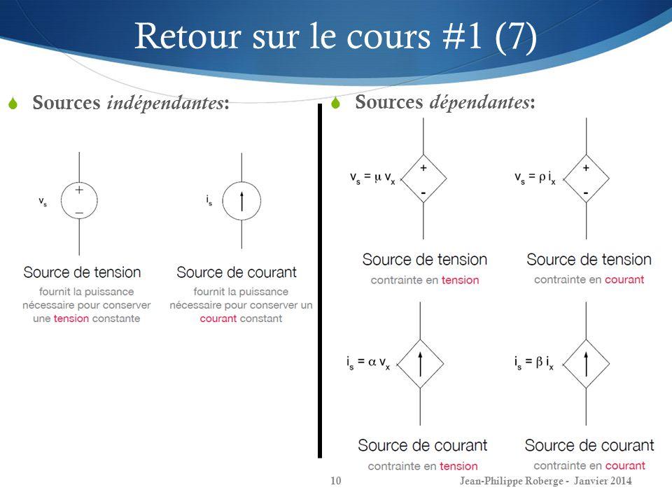 Jean-Philippe Roberge - Janvier 201410 Retour sur le cours #1 (7) Sources indépendantes : Sources dépendantes :