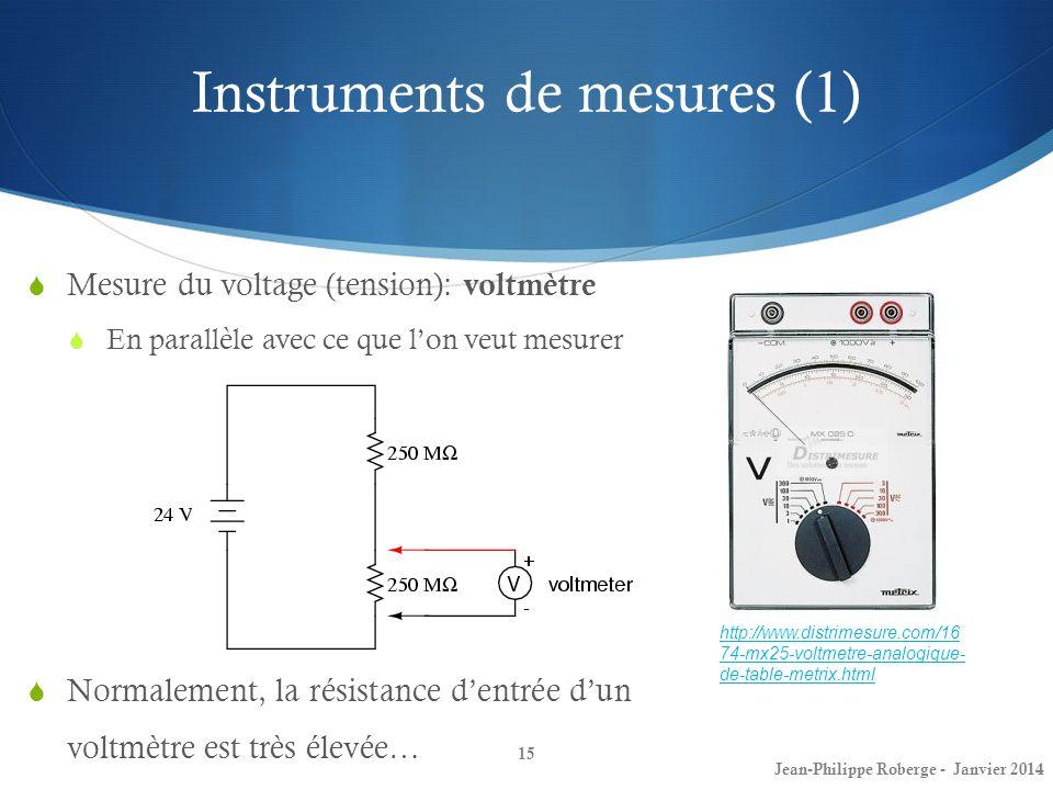 Instruments de mesures (1) 15 Mesure du voltage (tension): voltmètre En parallèle avec ce que lon veut mesurer Jean-Philippe Roberge - Janvier 2014 ht