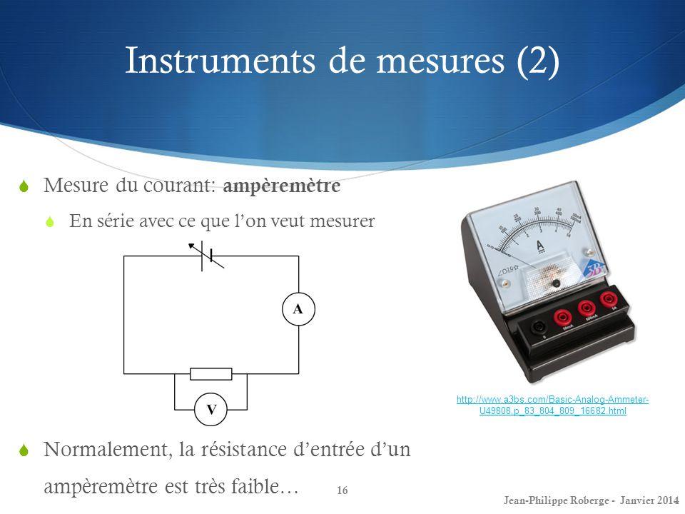 Instruments de mesures (2) 16 Mesure du courant: ampèremètre En série avec ce que lon veut mesurer Jean-Philippe Roberge - Janvier 2014 http://www.a3b