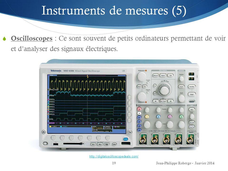 Jean-Philippe Roberge - Janvier 201419 Instruments de mesures (5) Oscilloscopes : Ce sont souvent de petits ordinateurs permettant de voir et danalyse