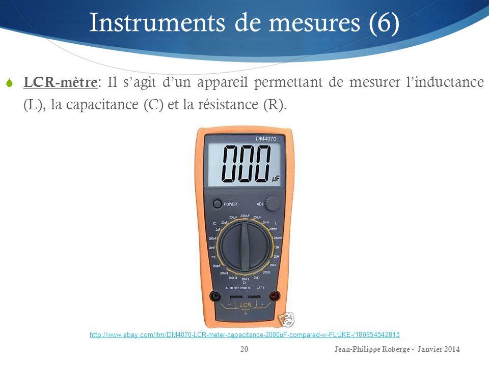 Jean-Philippe Roberge - Janvier 201420 Instruments de mesures (6) LCR-mètre : Il sagit dun appareil permettant de mesurer linductance (L), la capacita
