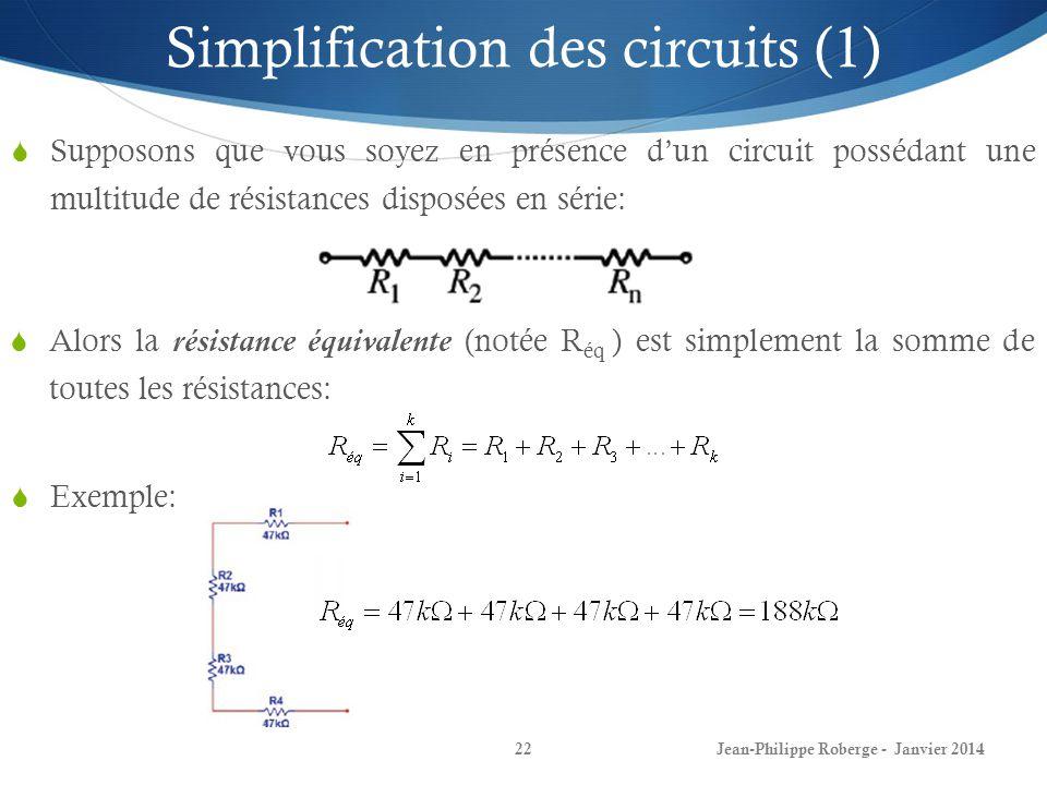 Jean-Philippe Roberge - Janvier 201422 Simplification des circuits (1) Supposons que vous soyez en présence dun circuit possédant une multitude de rés