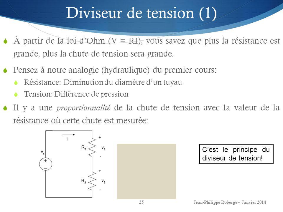 Jean-Philippe Roberge - Janvier 201425 Diviseur de tension (1) À partir de la loi dOhm (V = RI), vous savez que plus la résistance est grande, plus la