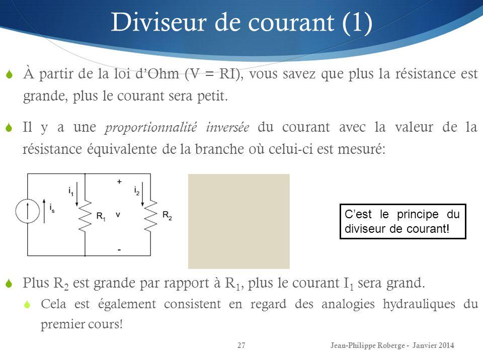 Jean-Philippe Roberge - Janvier 201427 Diviseur de courant (1) À partir de la loi dOhm (V = RI), vous savez que plus la résistance est grande, plus le