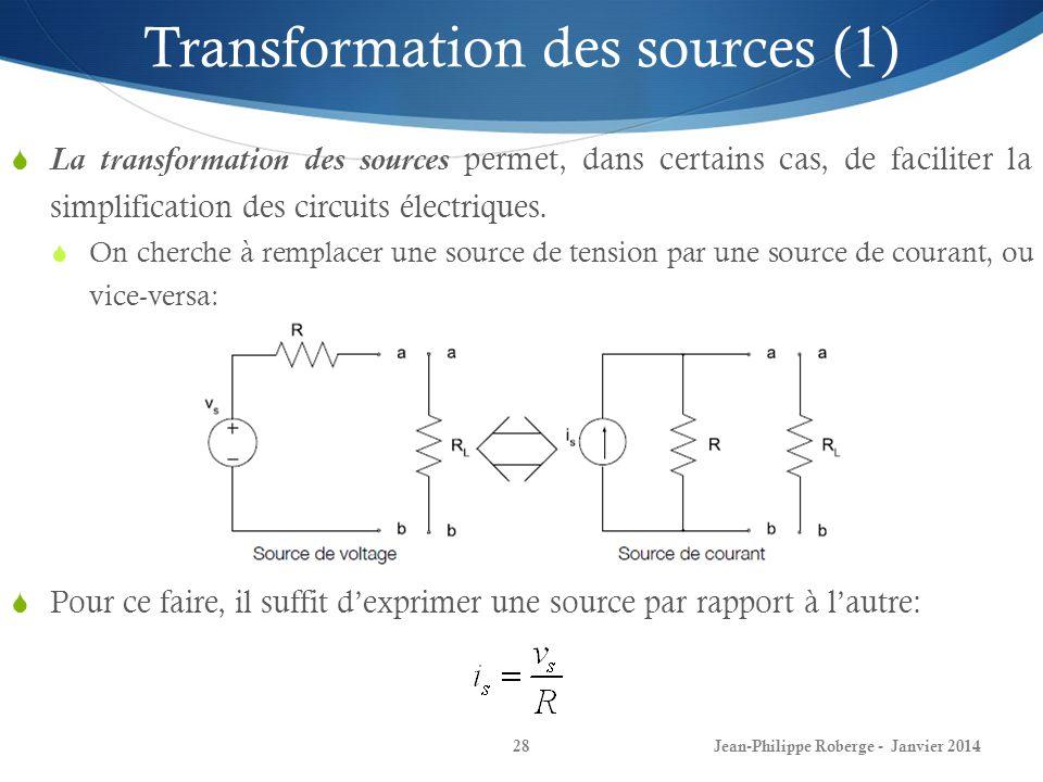 Jean-Philippe Roberge - Janvier 201428 Transformation des sources (1) La transformation des sources permet, dans certains cas, de faciliter la simplif