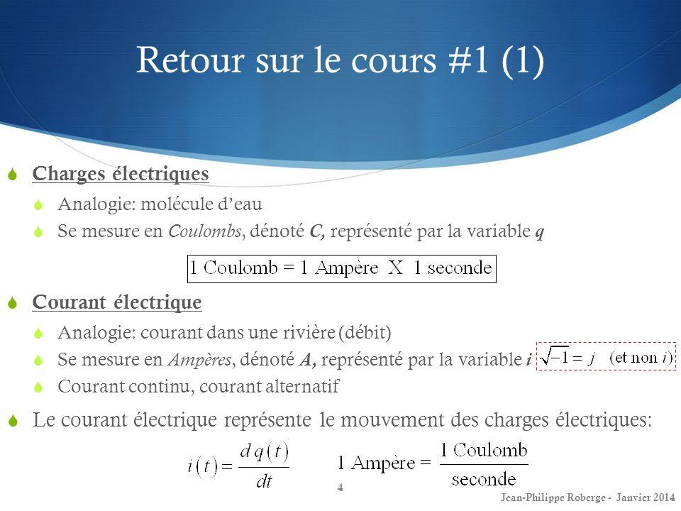 Retour sur le cours #1 (1) 4 Charges électriques Analogie: molécule deau Se mesure en Coulombs, dénoté C, représenté par la variable q Jean-Philippe R