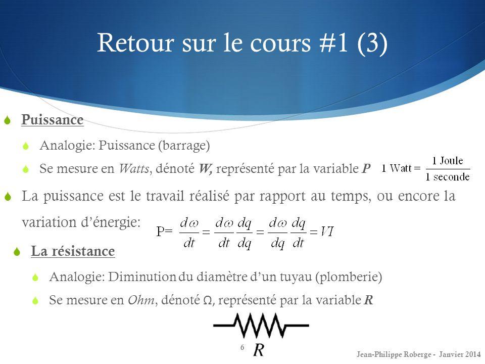 Retour sur le cours #1 (3) 6 Puissance Analogie: Puissance (barrage) Se mesure en Watts, dénoté W, représenté par la variable P Jean-Philippe Roberge