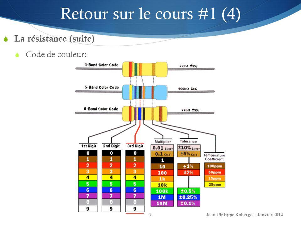 Jean-Philippe Roberge - Janvier 20147 Retour sur le cours #1 (4) La résistance (suite) Code de couleur: