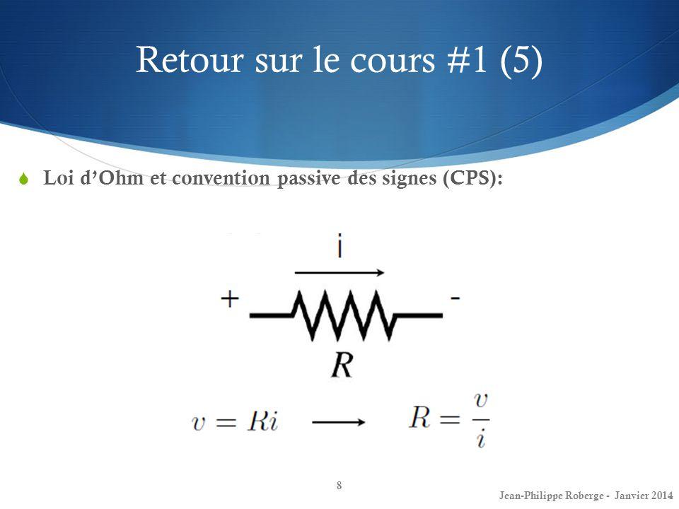 Retour sur le cours #1 (5) 8 Loi dOhm et convention passive des signes (CPS): Jean-Philippe Roberge - Janvier 2014