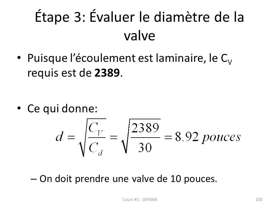 Étape 3: Évaluer le diamètre de la valve Puisque lécoulement est laminaire, le C V requis est de 2389. Ce qui donne: – On doit prendre une valve de 10