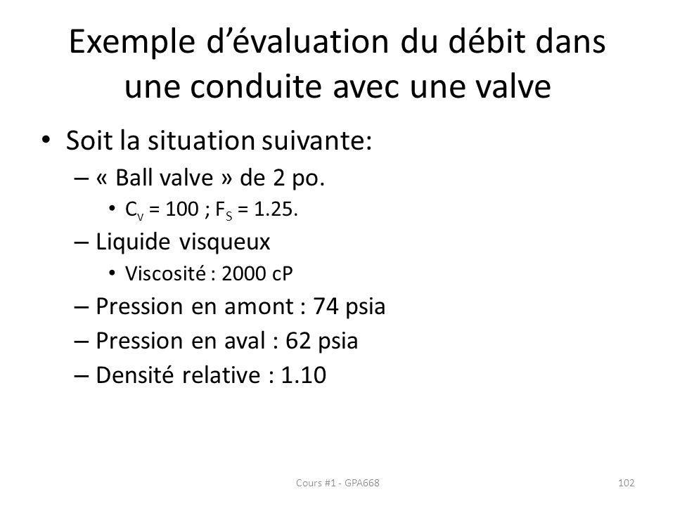Exemple dévaluation du débit dans une conduite avec une valve Soit la situation suivante: – « Ball valve » de 2 po. C v = 100 ; F S = 1.25. – Liquide