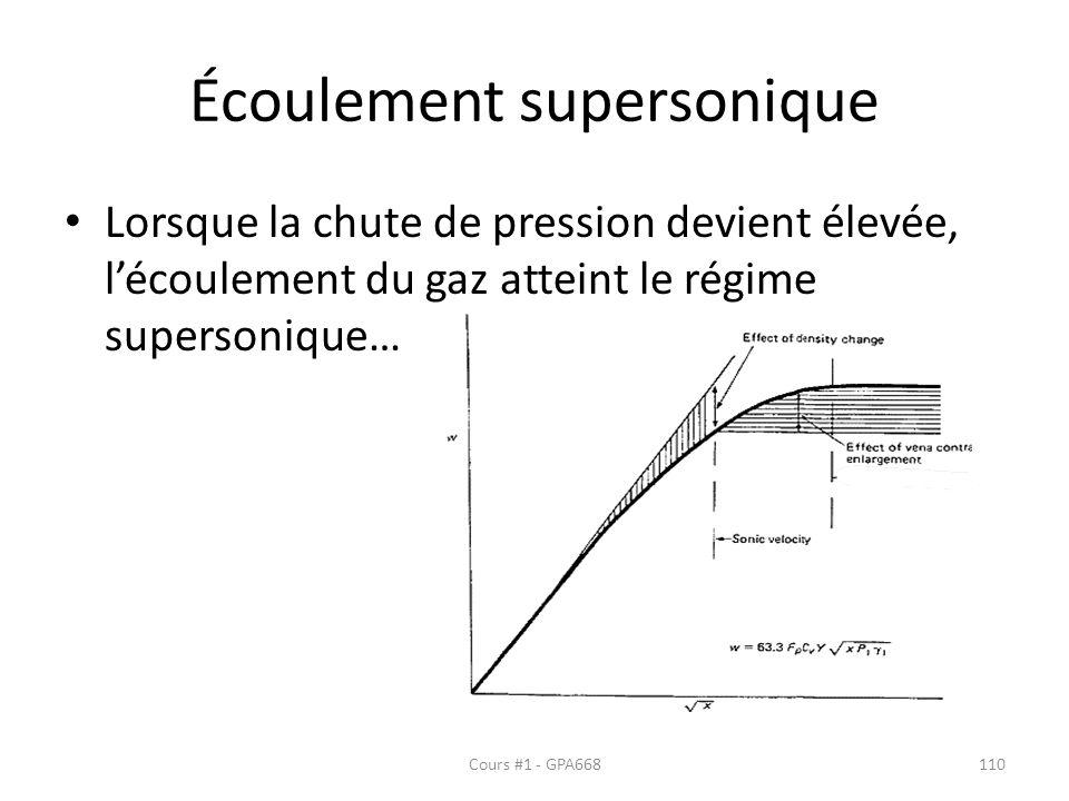 Écoulement supersonique Lorsque la chute de pression devient élevée, lécoulement du gaz atteint le régime supersonique… Cours #1 - GPA668110