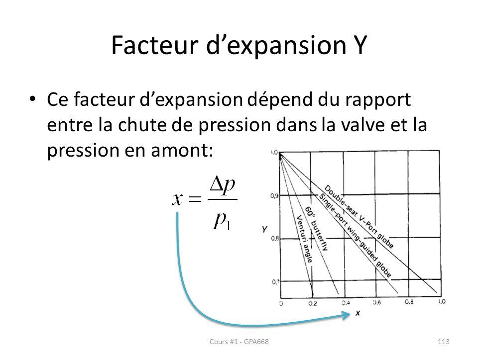 Facteur dexpansion Y Ce facteur dexpansion dépend du rapport entre la chute de pression dans la valve et la pression en amont: Cours #1 - GPA668113