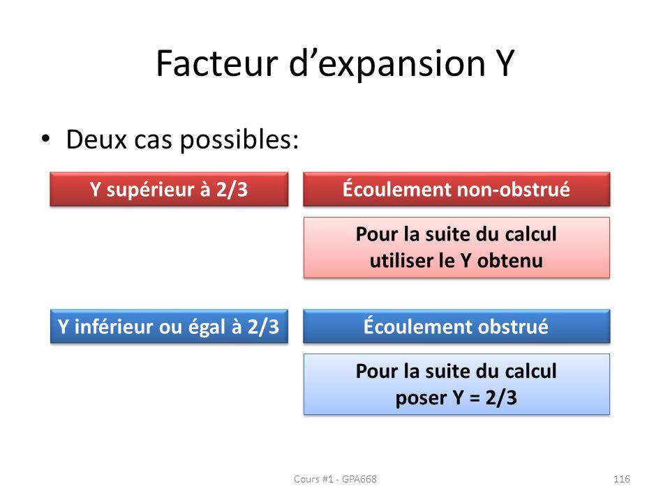 Facteur dexpansion Y Deux cas possibles: Y supérieur à 2/3 Y inférieur ou égal à 2/3 Écoulement non-obstrué Écoulement obstrué Pour la suite du calcul