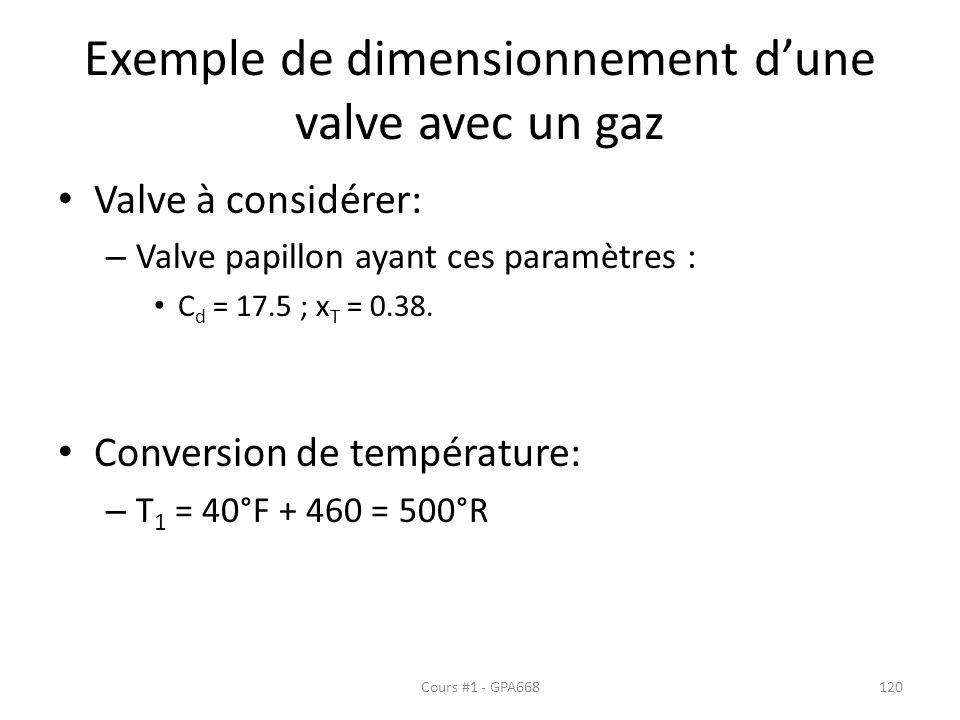 Exemple de dimensionnement dune valve avec un gaz Valve à considérer: – Valve papillon ayant ces paramètres : C d = 17.5 ; x T = 0.38. Conversion de t