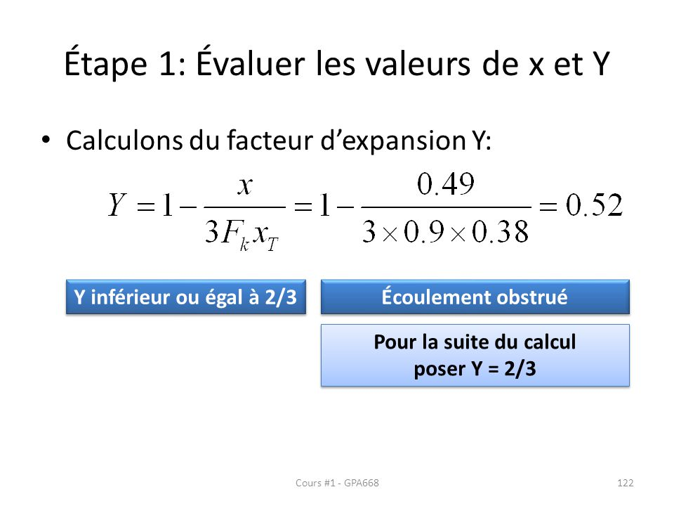 Étape 1: Évaluer les valeurs de x et Y Calculons du facteur dexpansion Y: Y inférieur ou égal à 2/3 Écoulement obstrué Pour la suite du calcul poser Y