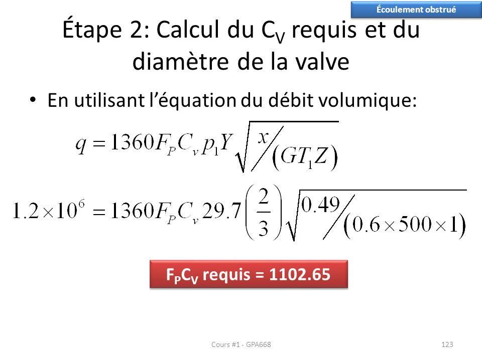 Étape 2: Calcul du C V requis et du diamètre de la valve En utilisant léquation du débit volumique: Écoulement obstrué F P C V requis = 1102.65 Cours