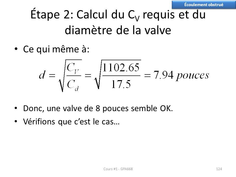 Étape 2: Calcul du C V requis et du diamètre de la valve Ce qui même à: Donc, une valve de 8 pouces semble OK. Vérifions que cest le cas… Cours #1 - G