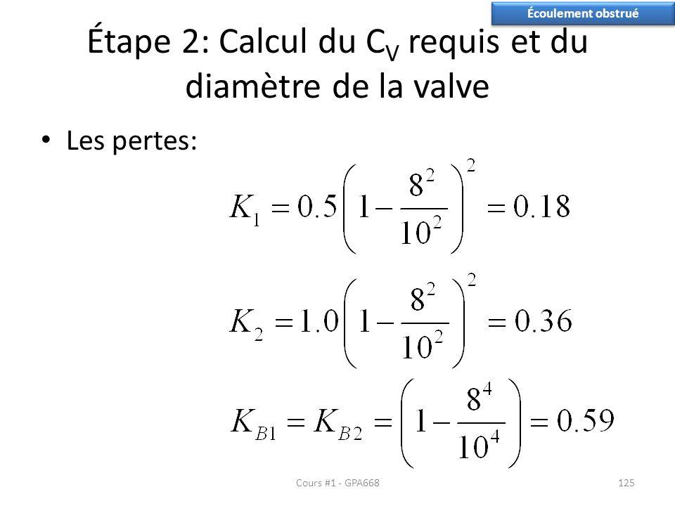 Étape 2: Calcul du C V requis et du diamètre de la valve Les pertes: Cours #1 - GPA668125 Écoulement obstrué