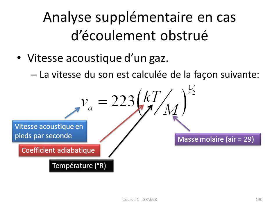 Analyse supplémentaire en cas découlement obstrué Vitesse acoustique dun gaz. – La vitesse du son est calculée de la façon suivante: Vitesse acoustiqu