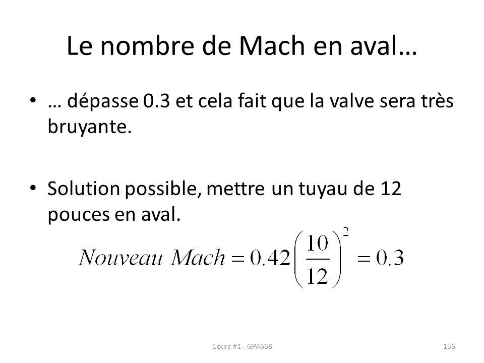 Le nombre de Mach en aval… … dépasse 0.3 et cela fait que la valve sera très bruyante. Solution possible, mettre un tuyau de 12 pouces en aval. Cours