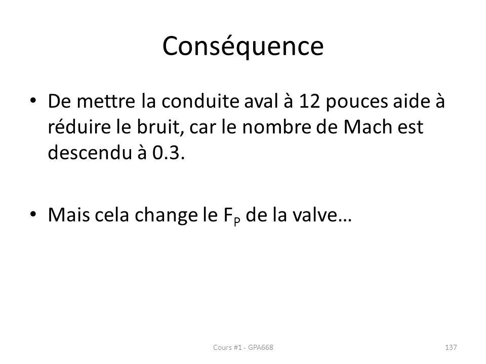 Conséquence De mettre la conduite aval à 12 pouces aide à réduire le bruit, car le nombre de Mach est descendu à 0.3. Mais cela change le F P de la va