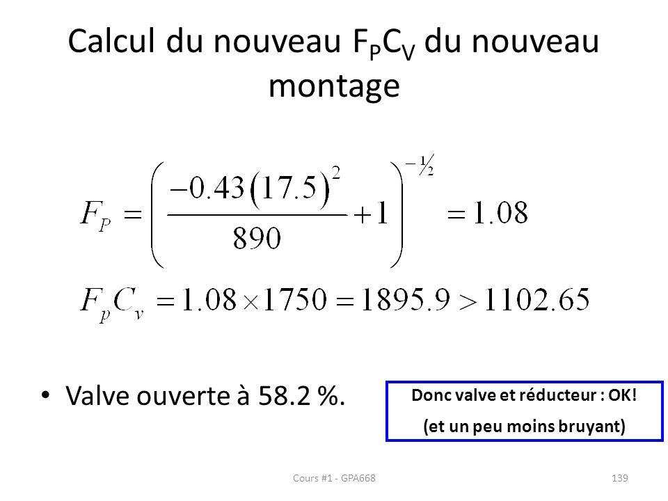 Calcul du nouveau F P C V du nouveau montage Valve ouverte à 58.2 %. Donc valve et réducteur : OK! (et un peu moins bruyant) Cours #1 - GPA668139