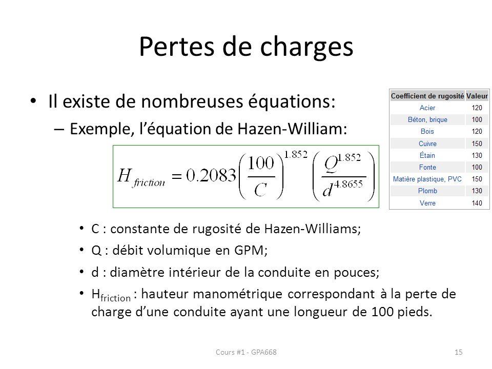 Pertes de charges Il existe de nombreuses équations: – Exemple, léquation de Hazen-William: C : constante de rugosité de Hazen-Williams; Q : débit vol