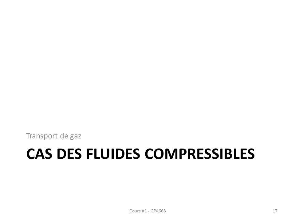 CAS DES FLUIDES COMPRESSIBLES Transport de gaz Cours #1 - GPA66817