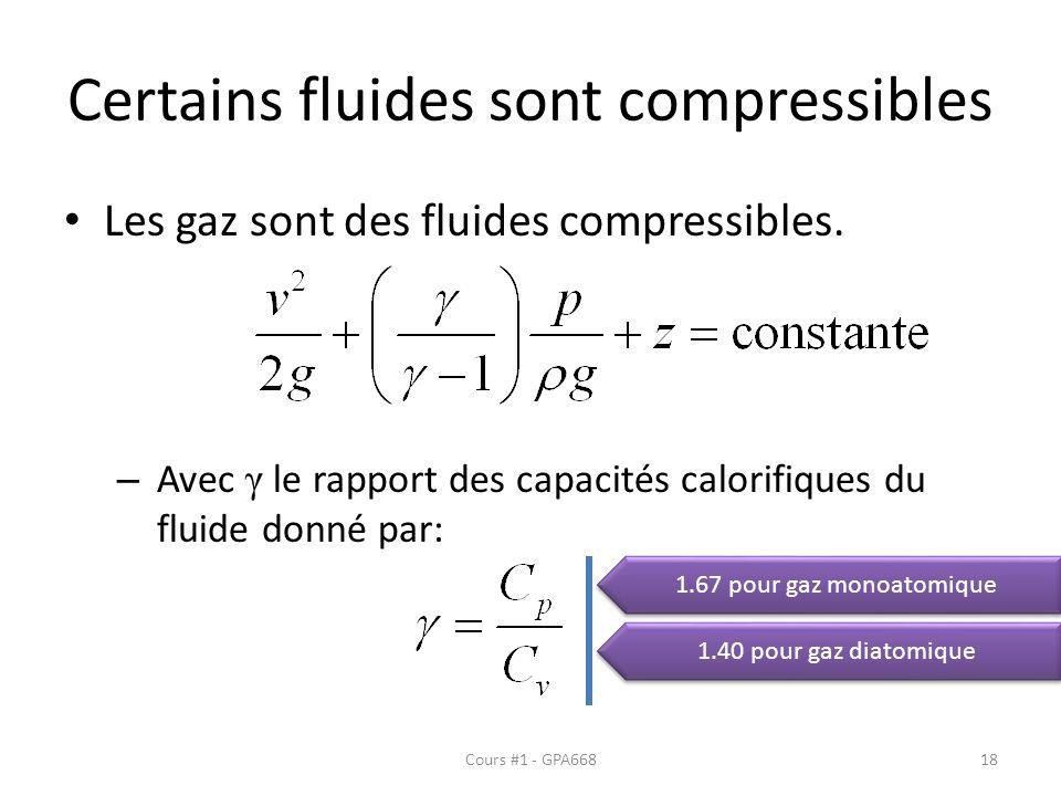 Certains fluides sont compressibles Les gaz sont des fluides compressibles. – Avec γ le rapport des capacités calorifiques du fluide donné par: 1.67 p