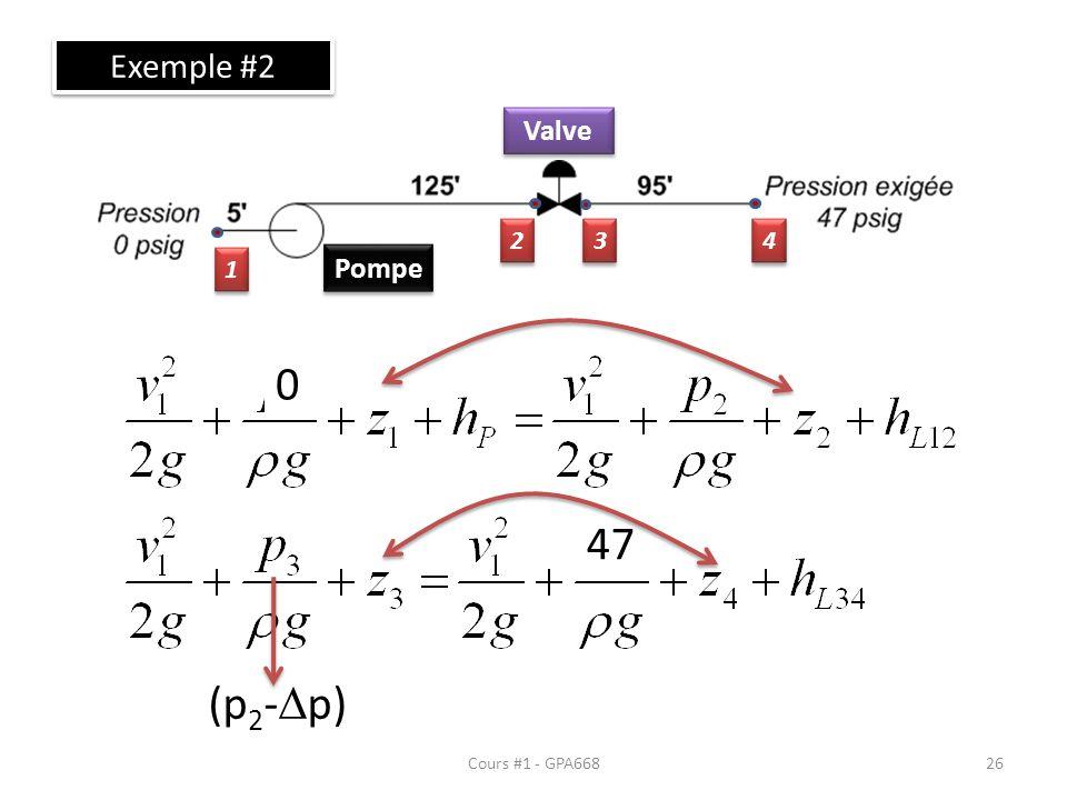Cours #1 - GPA668 Exemple #2 Pompe Valve 1 1 2 2 3 3 4 4 0 47 (p 2 - p) 26