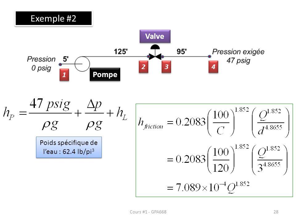 Cours #1 - GPA668 Exemple #2 Pompe Valve 1 1 2 2 3 3 4 4 Poids spécifique de leau : 62.4 lb/pi 3 28