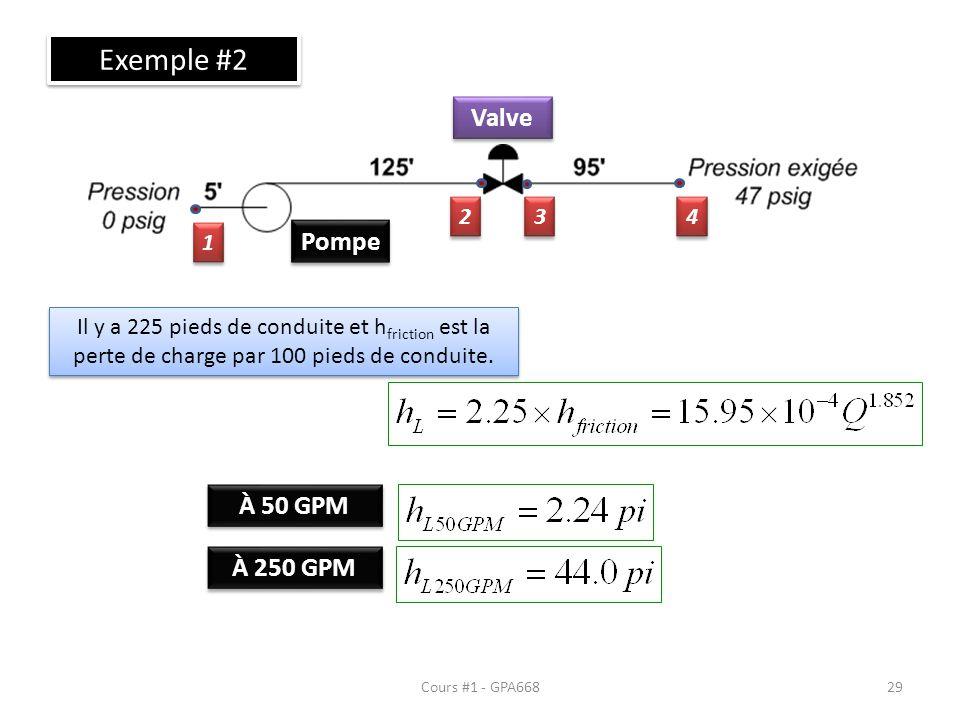 Cours #1 - GPA668 Exemple #2 Pompe Valve 1 1 2 2 3 3 4 4 Il y a 225 pieds de conduite et h friction est la perte de charge par 100 pieds de conduite.