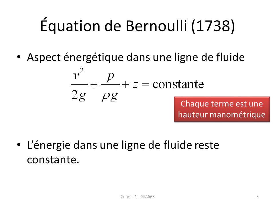 Équation de Bernoulli (1738) Aspect énergétique dans une ligne de fluide Lénergie dans une ligne de fluide reste constante. Chaque terme est une haute