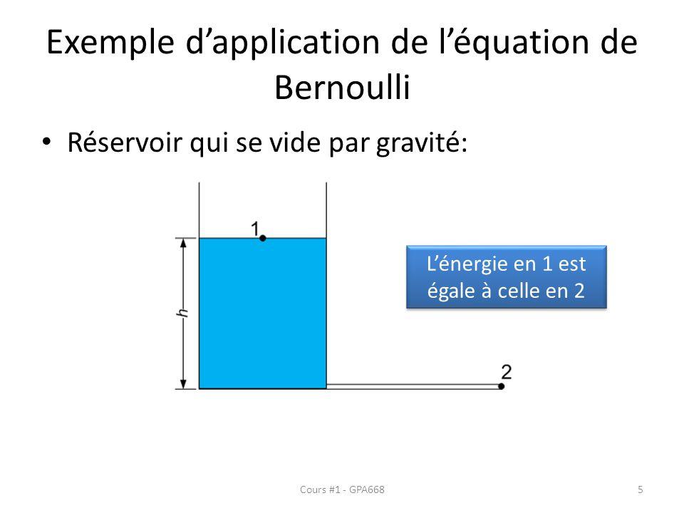 Exemple dapplication de léquation de Bernoulli Réservoir qui se vide par gravité: Lénergie en 1 est égale à celle en 2 Cours #1 - GPA6685