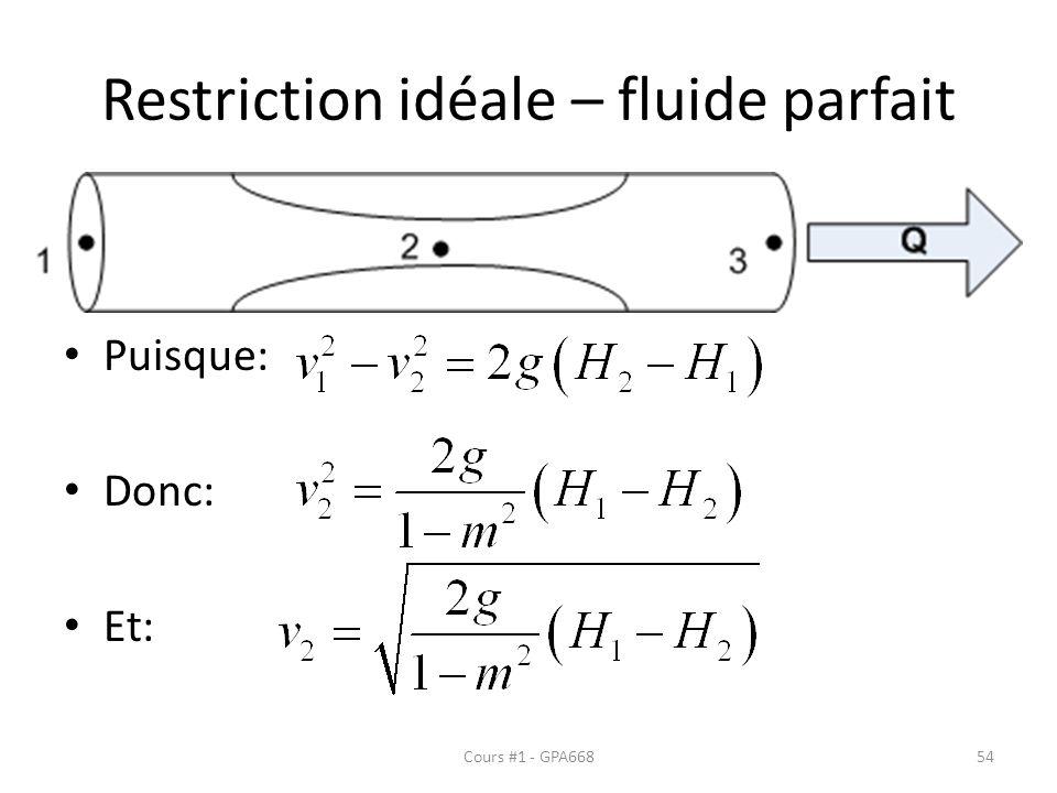 Restriction idéale – fluide parfait Puisque: Donc: Et: Cours #1 - GPA66854