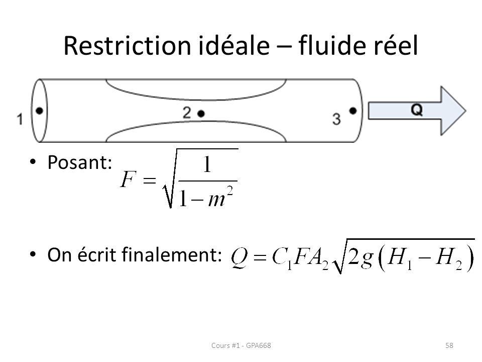Restriction idéale – fluide réel Posant: On écrit finalement: Cours #1 - GPA66858