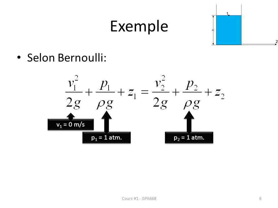 Exemple Selon Bernoulli: v 1 = 0 m/s p 1 = 1 atm. p 2 = 1 atm. Cours #1 - GPA6686