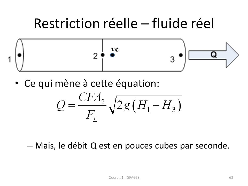 Restriction réelle – fluide réel Ce qui mène à cette équation: – Mais, le débit Q est en pouces cubes par seconde. vc Cours #1 - GPA66863
